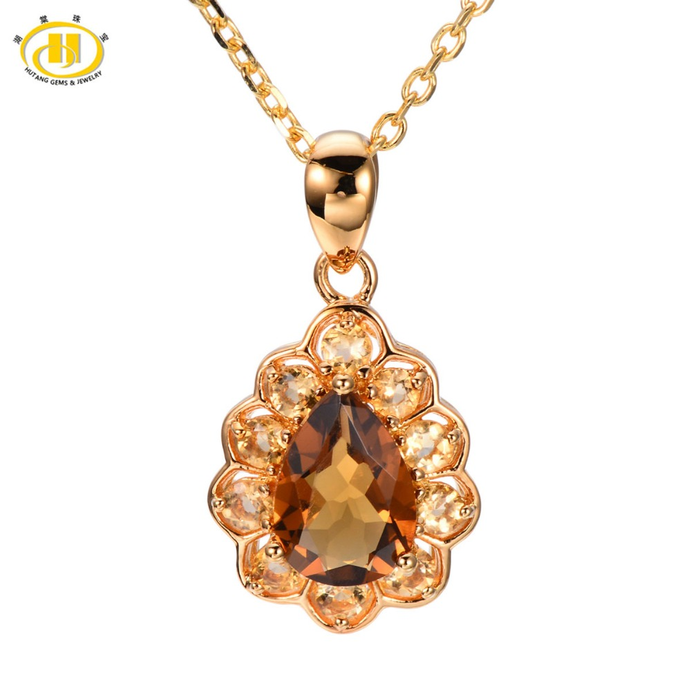 Hutang Stone Jewelry Genuine Smoky Quartz Citrine Pendant Solid 925 Sterling Silver Necklace Fine Fashion Jewelry For Gift New