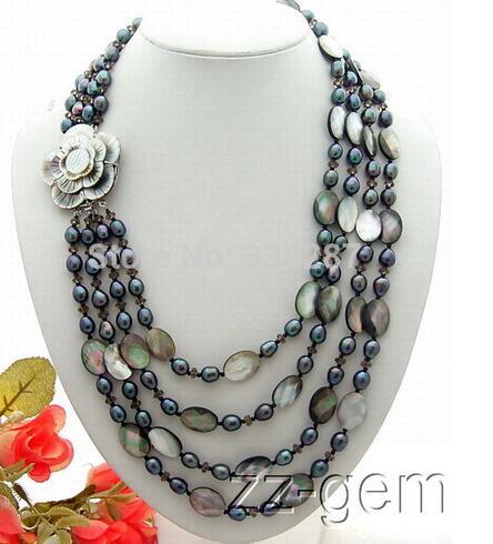 4 Brins Noir Perle et Noir Shel l & Smokys Quartz Collier-Camée Fermoir