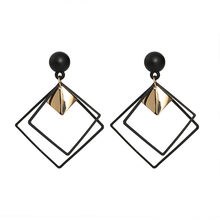 цена на 2018 Stud Earrings Statement Jewelry alloy Square Hollow Triangle Girl Elegant earrings for Women gothic Earring