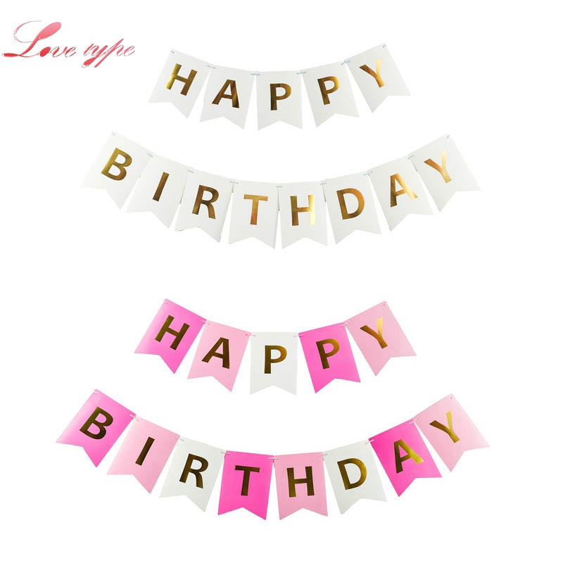 1set happy birthday paper flags garland floral bunting banners letter garlands for home baby kids birthday party decorations in banners
