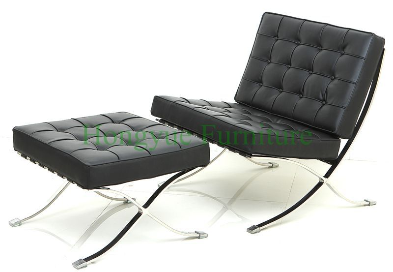 Captivating Hot Sale Modern Leather Single Seater Barcelona Chair With Ottoman
