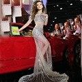 RE271 Sexy Sereia Querida Sparkly Cristal Rhinestone Lantejoulas Bead Prata Cristal Vestidos de Noite 2017 Vestidos Para Festa