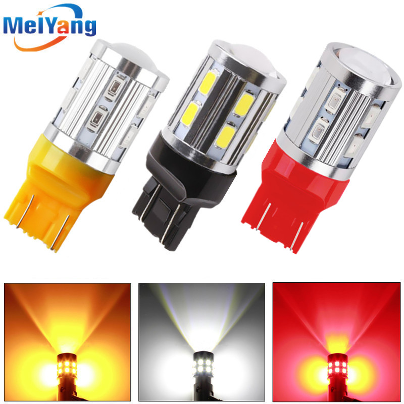 2pcs 7443 7440 high power lamp 5630 Red LED Auto w21/5w car bulbs rear brake Lights Car Light Source parking 12V White Yellow