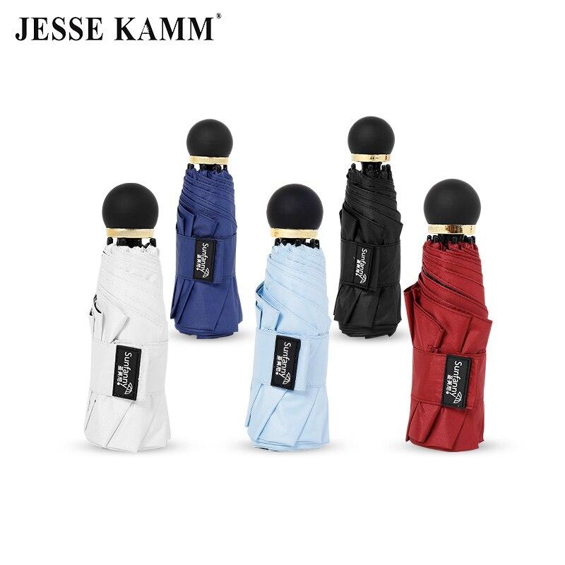 JESSE KAMM Fashion Small Mini Bag Compact Umbrella Black Coating Canopy Five-folding Fiberglass Ribs Convenient For Women Girl