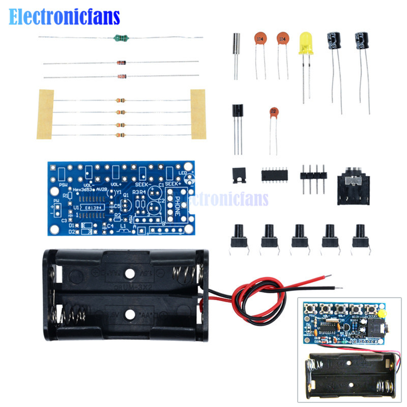 76MHz-108MHz Wireless Stereo FM Radio Kit Audio Receiver PCB FM Module Kits Learning Electronics For Diy 1.8-3.6VDC