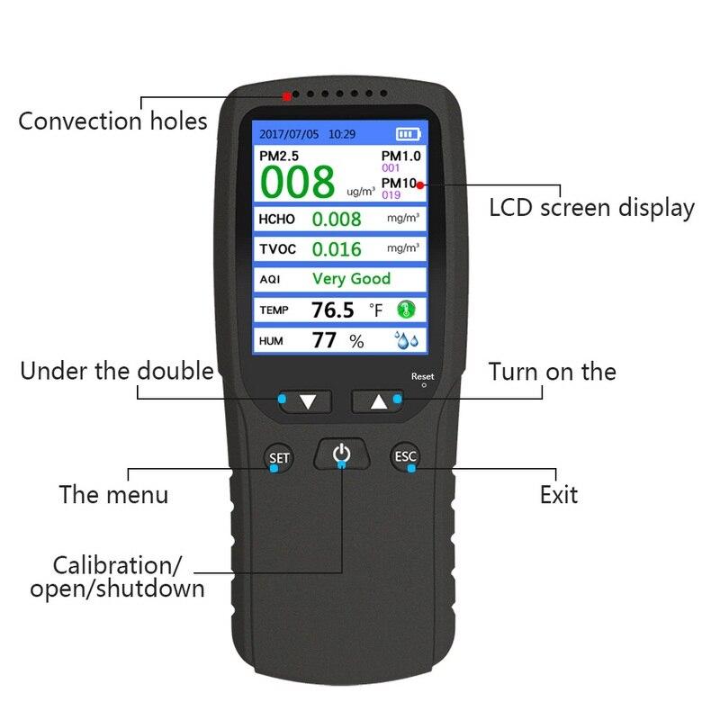 Analizzatore di Gas di 8 in 1 PM1.0 PM2.5 PM10 Monitor TVOC HCHO Formaldeide Rivelatore di Umidità di Temperatura del Tester Qualità Dell'aria Monitor