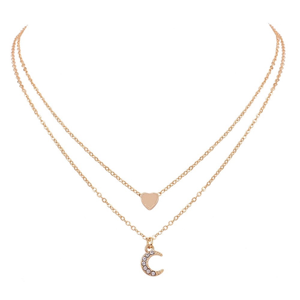 2019 New Fashion Necklace Boho Jewelry Cute Heart Moon Layered Pendant Necklace Women Girl Statement Necklace Wholesale