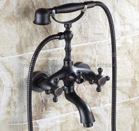 Black Oil Rubbed Brass Dual Cross Handles Bathroom Tub Faucet with Hand Held Shower Sprayer Ntf701
