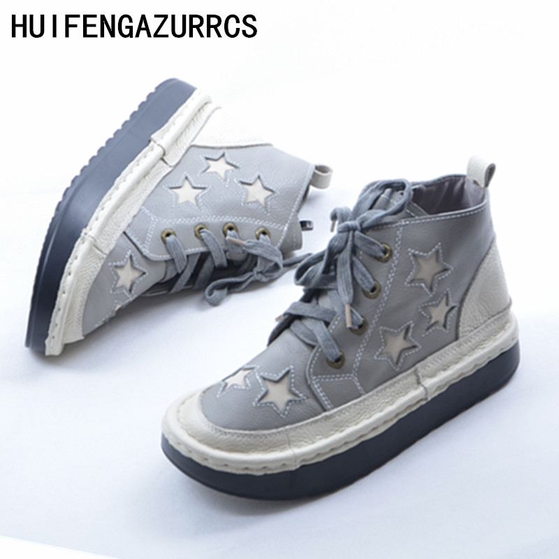 HUIFENGAZURRCS Thick bottomed muffin Martin boots Hot new hand made genuine leather shoes women s leisure