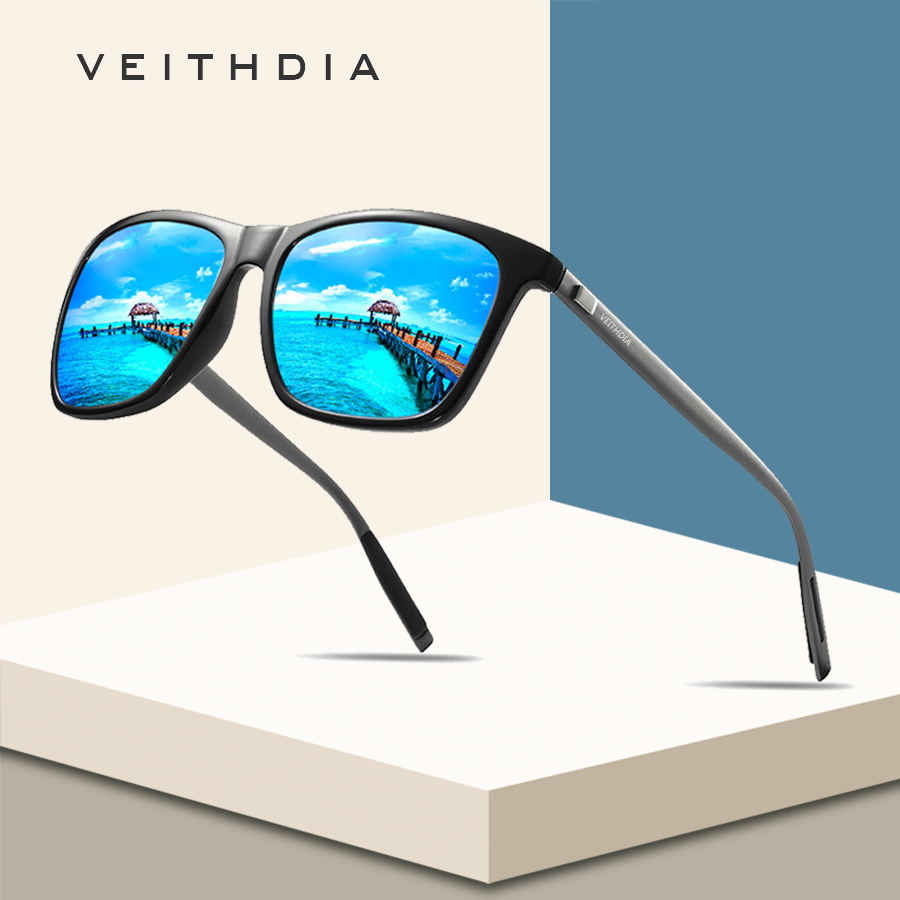 VEITHDIA Brand Unisex Retro Aluminum+TR90 Square Polarized Sunglasses Lens Vintage Eyewear Accessories Sun Glasses For Men/Women