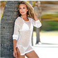 2016 Women Summer Sexy Swimwear Beach Crochet dress Sexy Mesh Hollow Out Long Sleeve Swimwear Bikini dress Beach Dress