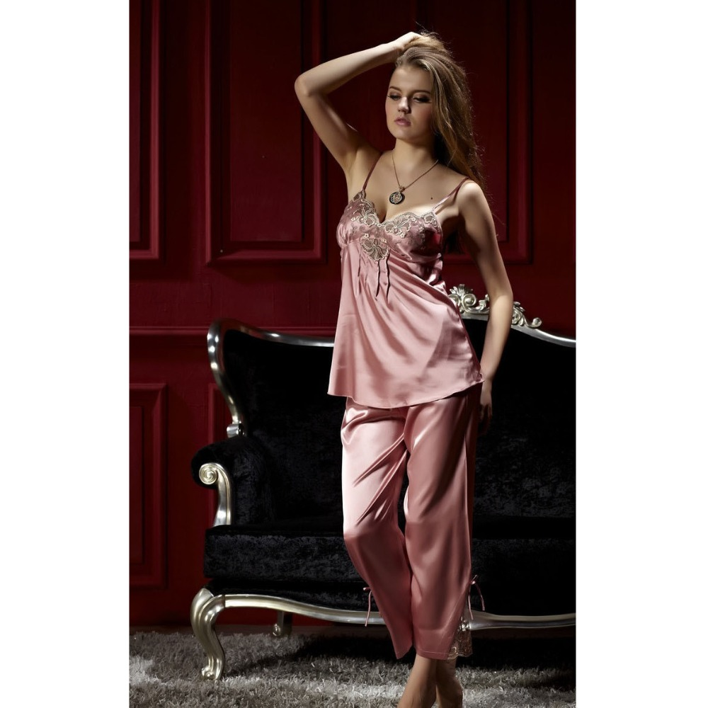 3 Piece Spring Autumn Elegant Womens Silk Satin New Sleep Suit Pajama Sets Sleepwear Women V