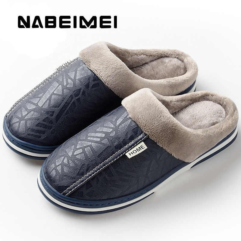 a135ac28 ... Для мужчин зимние шлёпанцы для женщин нескользящий для дома тапочки  большой размеры 49 кожа дом обувь ...