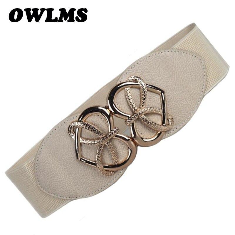 New Fashion Women's Cummerbund HOT Gold Heart Buckle Belt Wide WaistBand Female Leather Cummerbunds For Dresses Beautiful Design