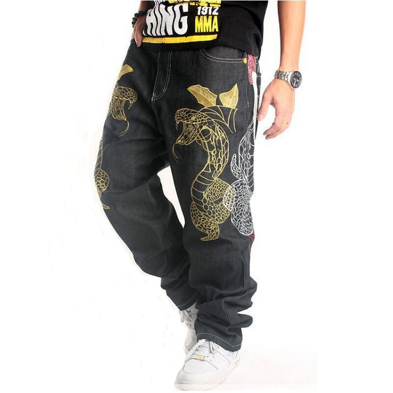 Big Size Men Jeans 2016 New Fashion Street Dance Clothing Boa Embroidery Loose Black Long Pants Hip Hop Jeans Men