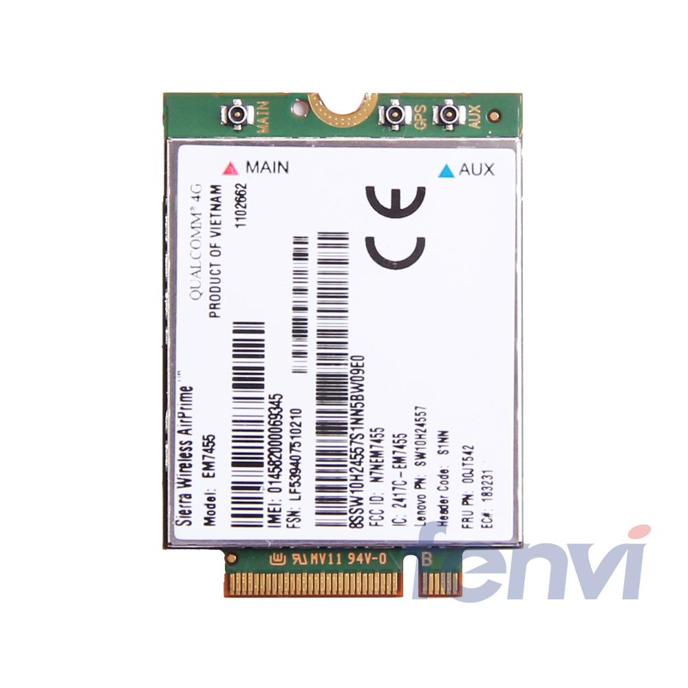 Sierra Wireless Airprime EM7455 Qualcomm 4G LTE WWAN Card UMTS HSDPA HSPA+LTE GPS for IBM Lenovo T460 T460S L460 P70 FRU:00JT542 new unlocked sierra mc8780 wireless 3g wwan 7 2mbps hsupa hsdpa umts gprs gps edge module mini pci e card for dell acer asus