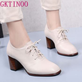GKTINOO Genuine Leather Shoes Women Pumps High Heels Lace Up Ladies Spring Thick Heel - discount item  50% OFF Women's Shoes