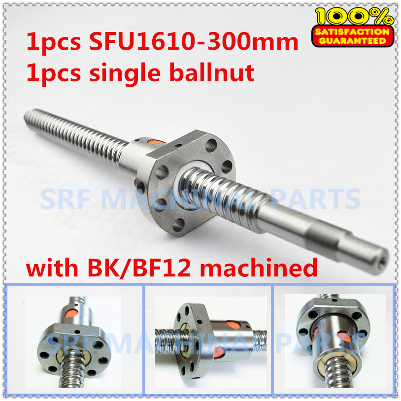 1pcs 16mm diameter Lead=10mm Rolled ballscrew SFU1610 L=300 with ball nut with BK/BF12 end machined for CNC part ballscrew sfu1610 l200mm ball screws with ballnut diameter 16mm lead 10mm