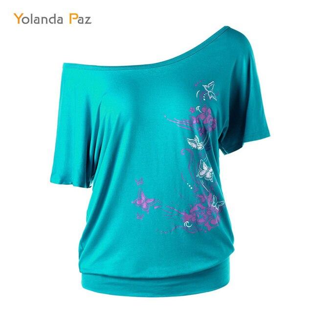 8836987926a Yolanda Paz Women Casual T Shirt One Shoulder Flower Butterfly Print T  Shirts 2019 Summer Loose Casual Short Sleeve tops tees