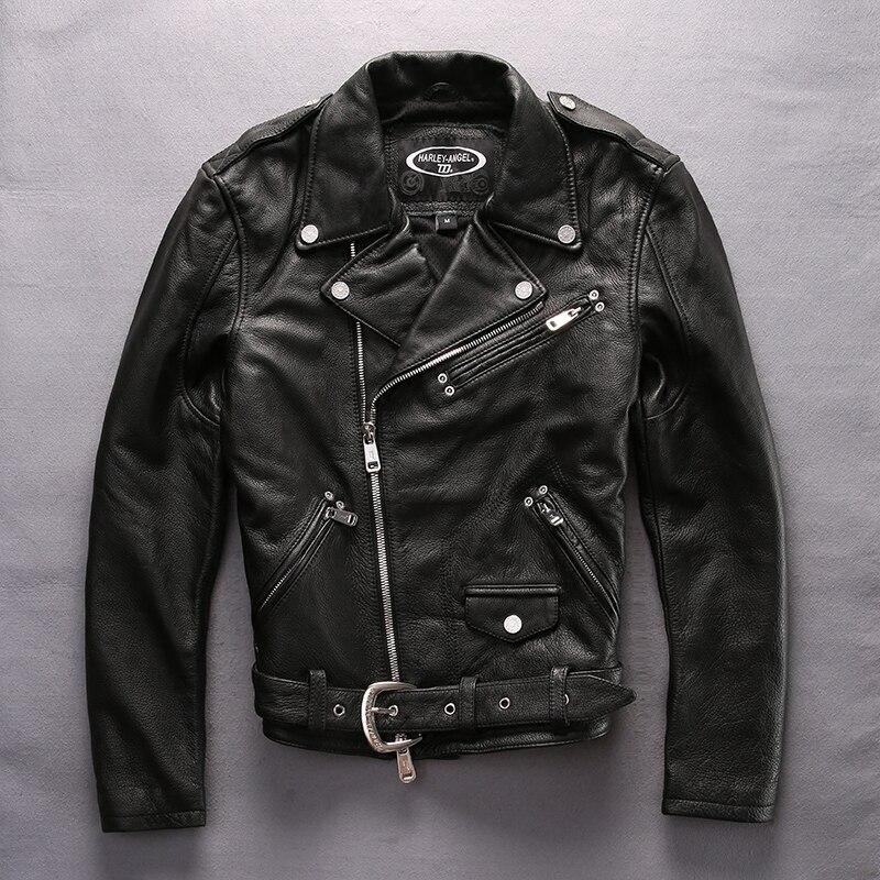 HARLEY ANGEL 2017 новое поступление мотоциклетная куртка из натуральной кожи мужская куртка с отложным воротником cowskin Мужская байкерская куртка ч...