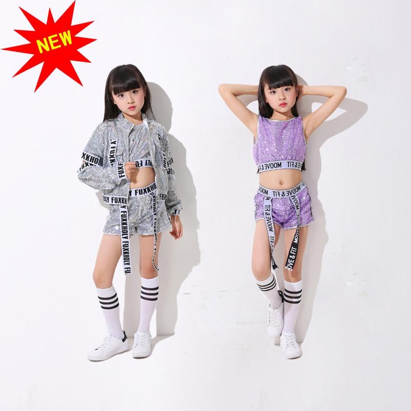 4d738f3fe5e Children's Jazz Modern Dance Costume Girls Sequins Hip Hop Crop Tops And Pants  Street Dance Clothing Exposed Navel Vest Suit on Aliexpress.com | Alibaba  ...