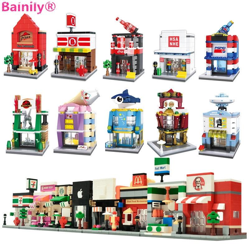 Mini Street 3D Model Shop Building Block compatible with LegoINGly City KFCE McDonald Cafe Apple Architecture Brick Toy For Kids