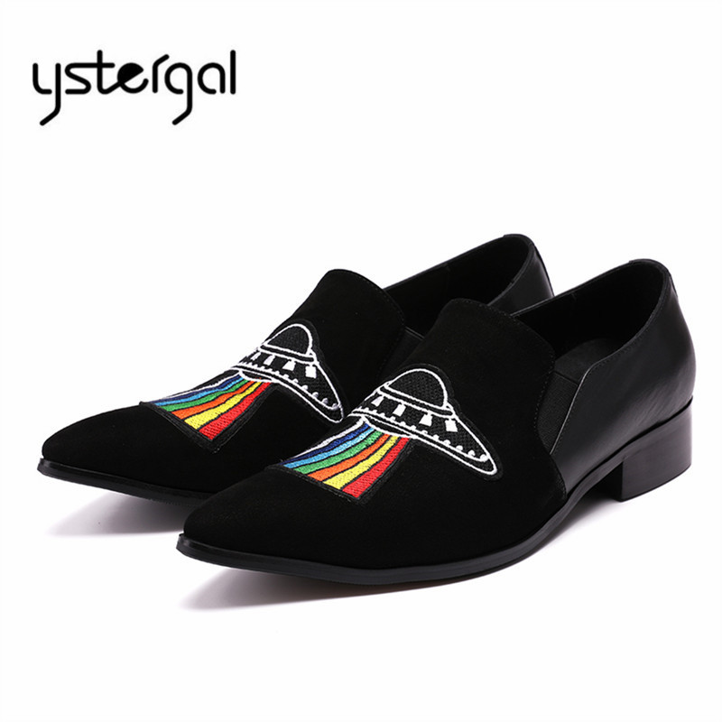 YSTERGAL Embroidery Men Casual Flat Shoes Suede Slip On Flats Mens Loafers Prom Dress Shoes Tenis Masculino Zapatos Hombre men loafers leather flat mocasines hombre 2017 fashion rivet flats mens shoes casual sewing slip on driving shoes men round toe