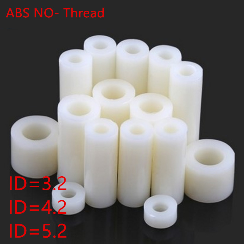 50pcs M3 M4 M5 ABS Rround Spacer Standoff White Nylon Non-Threaded Spacer Round Hollow Standoff Washer