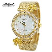 Luxury Melissa Lady Women's Watch Elegant Rhinestone Fashion Hours Dress Tassel Bracelet Crystal Flower Clock Girl Birthday Gift