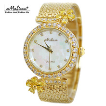 Luxury Melissa Lady Women's Watch Elegant Rhinestone Fashion Hours Dress Tassel Bracelet Crystal Flower Clock Girl Birthday Gift