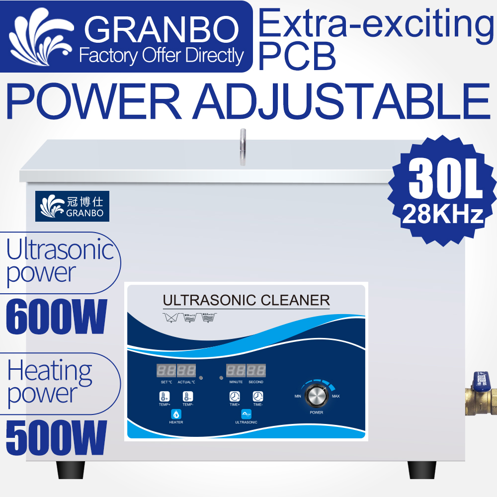 Industrial Custom 30L Ultrasonic Cleaner 28khz 40khz 0 600W Adjustable Heater Control Hardware Engine Injector Oil