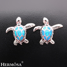 Australische Blue Fire Opal Zeeschildpad oorbellen 925 Sterling-Silver-Jewelry Stud Earring voor dames Fashion Women Party Holiday