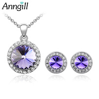 New Fashion Jewelry Set Round Design Crystals From Swarovsk Pendant Necklace Earring Top Quality Gift For