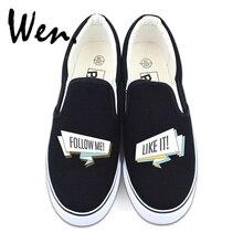 Wen Slip on Canvas Shoes Original Design Words FOLLOW ME LIKE IT Slogan Flat Skateboarding Sneakers for Men Women