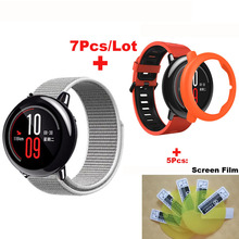 Купить с кэшбэком 7/lot for Amazfit Pace Smart Watch Strap 22mm Nylon Bracelet Band for Original Xiaomi Huami Amazfit Pace Black Pulesra Correa