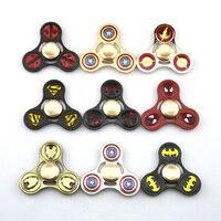 EDC Fidget Spinner Triangular Avengers DC Super Hero Tri Spinner Toy Iron Man Batman Flash Metal