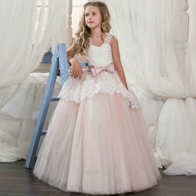 все цены на Princess dress pink long party dresses for girls ball gowns for kids with bow lace tulle flower girls dresses for wedding