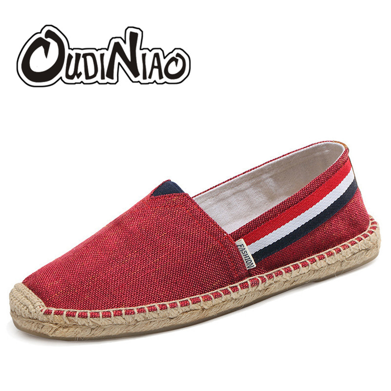 OUDINIAO Mens Shoes Casual Solid Breathable Canvas Shoes Men Fashion 2018 Soft Slip On Espadrilles Men Loafers Zapatos Hombre 2018 summer fashion men canvas shoes espadrilles men casual shoes slip on breathable loafers men flats shoe zapatos hombre