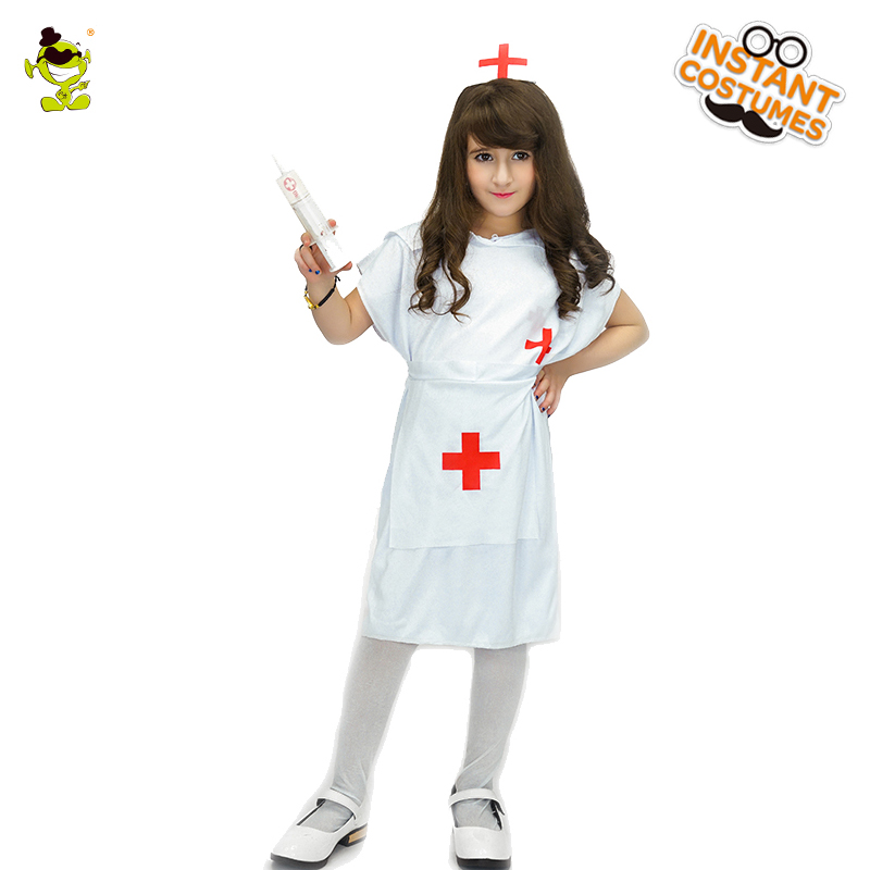 Girls Little Nurse Costumes Halloween Career Role Play Party Kind Nurse Imitation Dress Kids Beautiful Doctor Cosplay Clothes