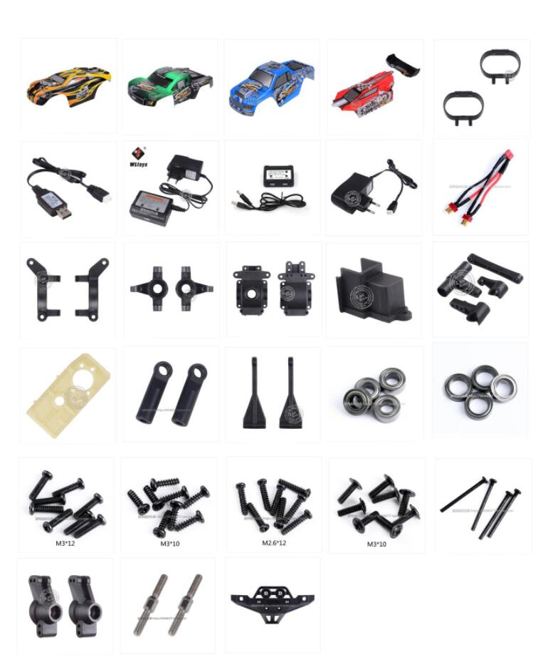 <font><b>Wltoys</b></font> 12401 12402 12403 12404 <font><b>12409</b></font> RC Car spare <font><b>parts</b></font> car shell charger Bearing Screw Wave box shell Turn connecting rod etc 2 image