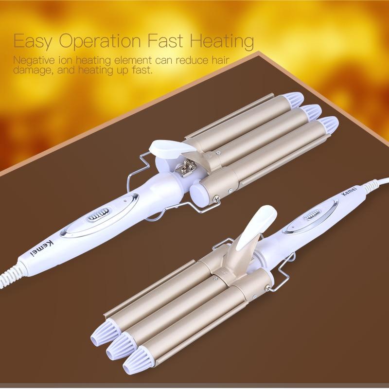 110-220V 3 Barrel Hair Curler Curling iron Ceramic Professio