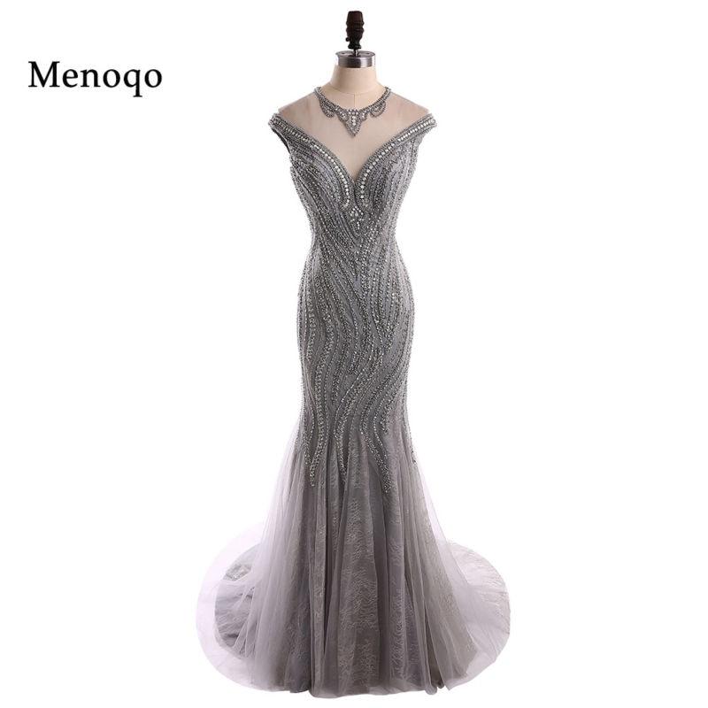 Menoqo Unique Prom Dresses 2018 O-neck Beaded Sequined Crystal ...
