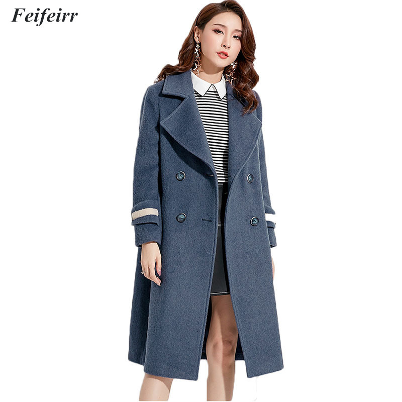 2018 autumn and Winter new double-breasted wool coat Fashion suit collar loose plus size casual Overcoat Abrigo Mujer