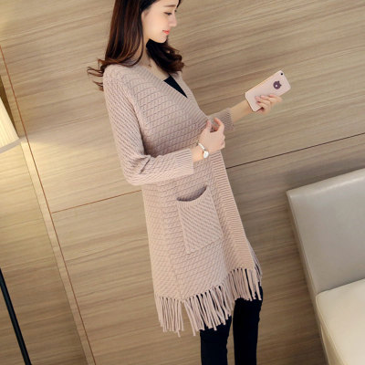 3XL Knit Female Cardigan New 2018 Autumn Fashion Tassels Woman Long Cardigan Coat Pocket V Neck Sweater Coat For Women 1