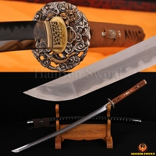 Top Handmade Katana Samurai Japanese Sword Damascus & 1095 Steel Kobuse Blade Brass Dragon Tsuba Clay Tempered Edge Sharp Custom
