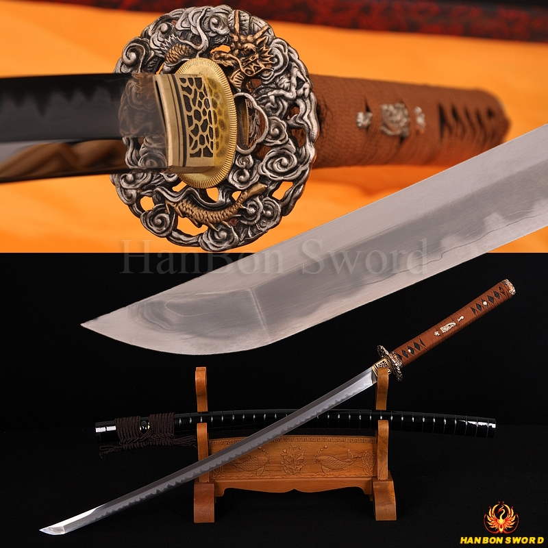 Top Handmade Katana Samurai Japanese font b Sword b font Damascus 1095 Steel Kobuse Blade Brass