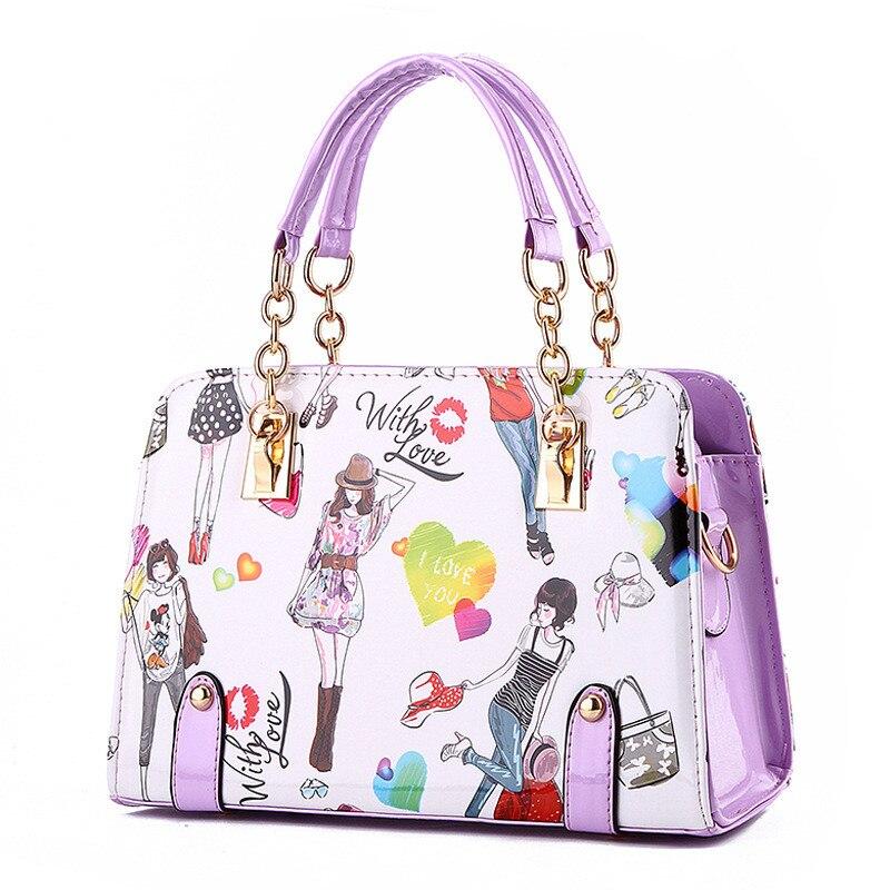 Fashion PU Women Handbag Shoulder Bag Violet Clutch Shoulder Strap Reglable Crossbody Messenger Cartoon Pattern