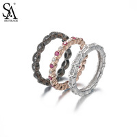 SA SILVERAGE Real 925 Sterling Silver Ring Sets Trendy Party S925 Fine Jewelry Lover Gift Women