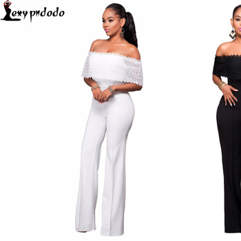Fashion White Bodysuit Women Sexy Rompers Womens Jumpsuit Bodycon Off Shoulder Playsuit Woman Jumpsuit With Long Pants Vestidos