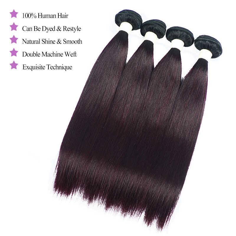 Эффектом деграде (переход от темного к бразильские Прямые вплетаемые волосы Цветной Shiningstar бордовый Пряди человеческих волос для наращивания 1/3/4 шт. фиолетовый виноград не волосы Remy путать